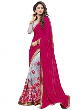 Cool Magenta and Sky Georgette Saree