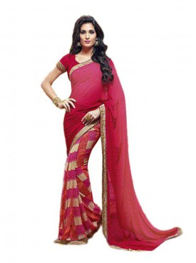 Fabulous pink and Maroon Georgette Saree