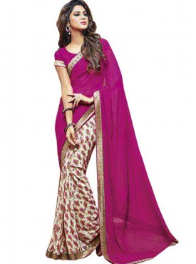 Lovely Magenta and Off White Georgette Saree