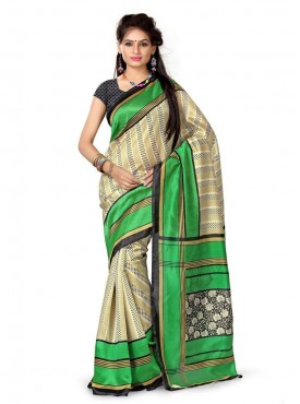 Lovely Beige and  Green Designer Saree