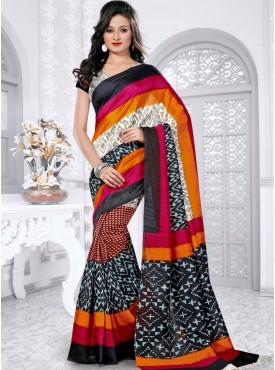 Awesome Multi and Off White Color Designer Saree