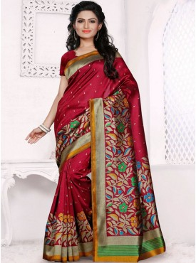 Fabulous Red and Maroon Designer Saree