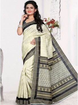 Lovely Off White and Grey Designer Saree