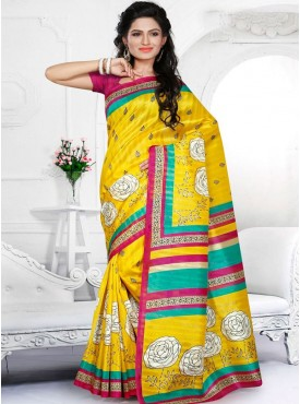 Excellent Yellow and Pink Color Designer Saree