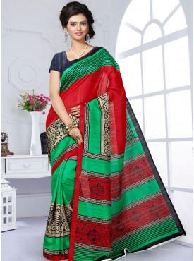 Admirable RedGreen and Grey Designer Saree