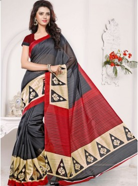 Awesome Dark Grey and Red Designer Saree