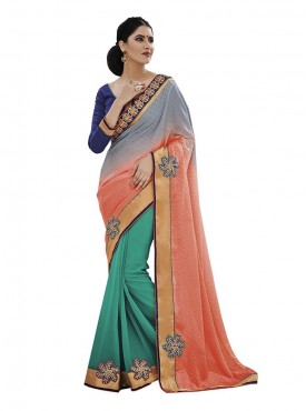 Indian Women Two Shaded Jacquard Saree