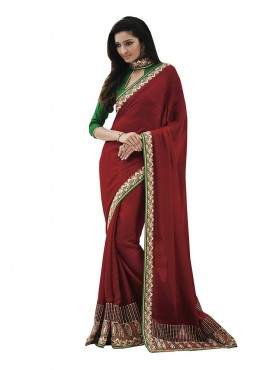 Indian Women Embellished Maroon Crepe Saree