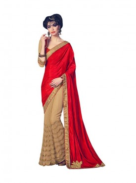 Indian Women Red And Beige Fabrics Net And Paper Silk Saree