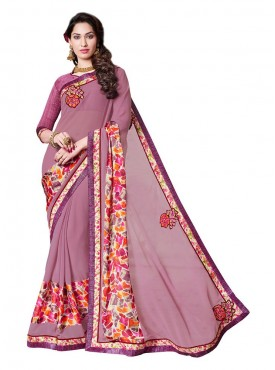 Indian Women Chiffon Georgette Pink Color Saree