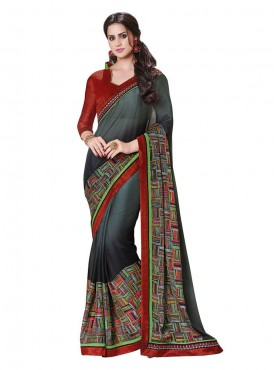 Indian Women Georgette Grey Color Saree