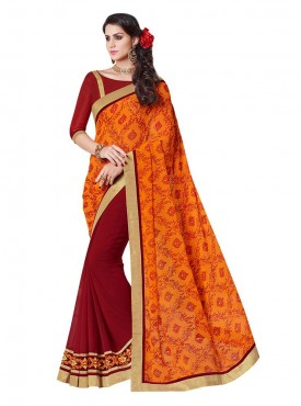 Indian Women Georgette Orange And Maroon Color Saree