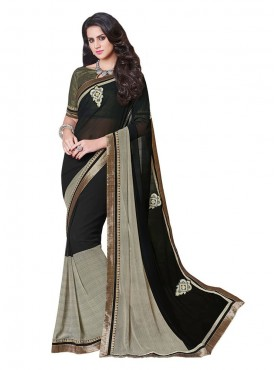 Indian Women Georgette Black Color Saree