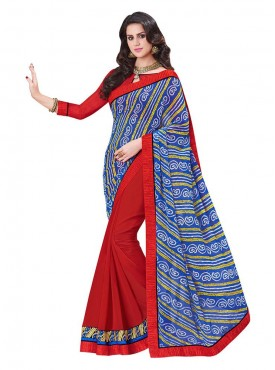 Indian Women Georgette Blue And Red Color Saree