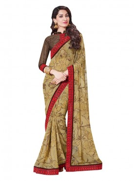 Indian Women Georgette Multicolor Color Saree
