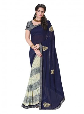 Indian Women Georgette Violet And Off White Color Saree