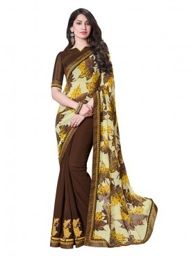 Indian Women Georgette Satin Chiffon Multicolor Saree