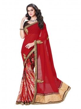 Indian Women Georgette Multicolor Saree