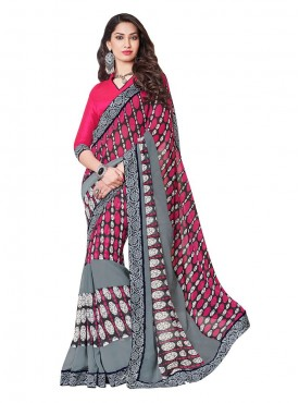 Indian Women Satin Georgette Multicolor Saree