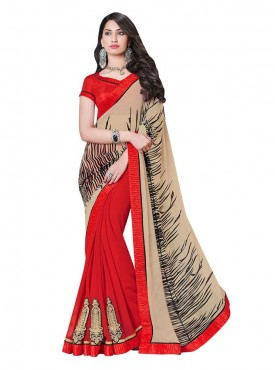 Indian Women Georgette Beige And Red Color Saree