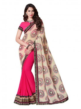 Indian Women Satin Chiffon Multicolor Saree