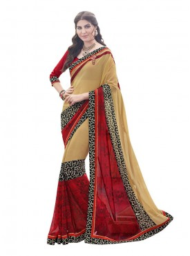 Indian Women Georgette Print Beige Color Saree