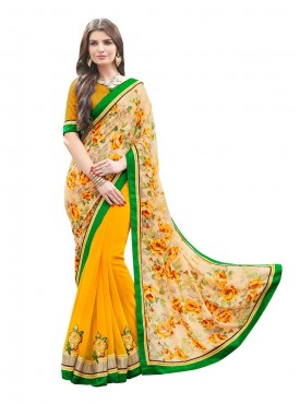 Indian Women Georgette Print Multi Color Saree