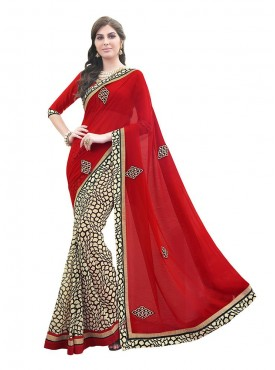 Indian Women Georgette Multi Color Saree