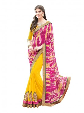 Indian Women Georgette Print Pink Color Saree