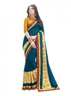 Indian Women Georgette Blue Color Saree