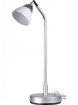 Renata LED Desk Light - Enlighten - Cool White Light - Plastic Shade-Silver