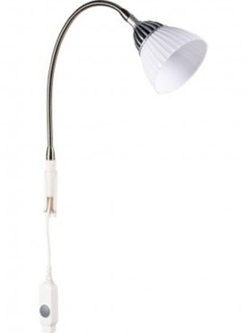 Renata LED Clamp Light - Enlighten - Cool White Light  - Plastic Shade -Silver