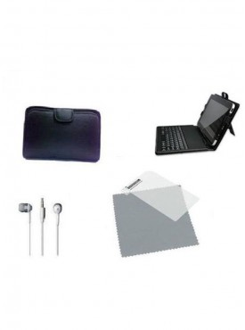 Vizio Keyboard Soft Case 7 inch Tablet screen protector Earphone Combo Set (Multicolor)