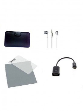 Vizio Earphone 7 inch Tablet screen protector Otg Cable V3 Soft Case Combo Set (Multicolor)