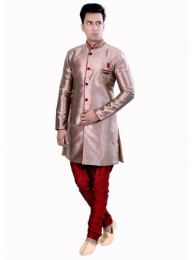Men Exquisite Copper Art Silk Readymade Sherwani