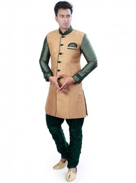 Exquisite Brocade Chikoo Men Readymade Sherwani