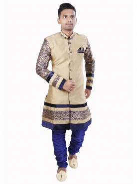 Exquisite Chikoo Wedding wear Men Readymade Sherwani