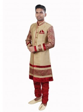 Men Exquisite Chikoo Brocade Readymade Sherwani