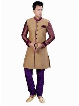 Men Exquisite Beige Brocade Readymade Sherwani