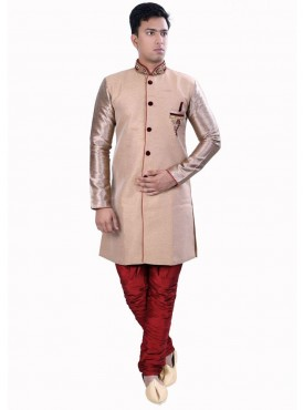 Exquisite Beige Readymade Sherwani For Men Wear