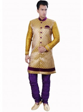 Men Exquisite Yellow Dhupion Readymade Sherwani