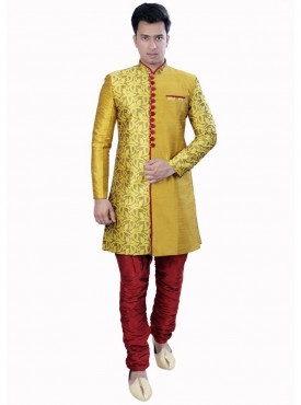 Exquisite Yellow Dhupion Readymade Sherwani