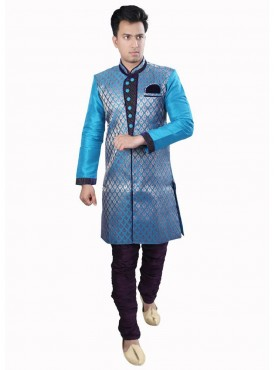 Exquisite Firozi Color Dhupion Readymade Sherwani