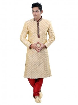 Men Exquisite Off White Dhupion Readymade Sherwani