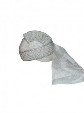 Off white silk wedding Turban