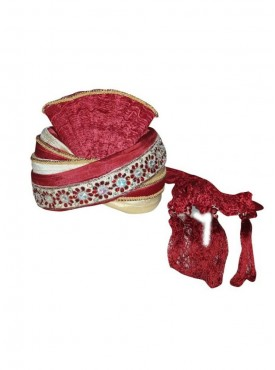 Maroon art silk wedding Turban