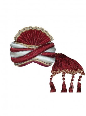 Off white and Maroon art silk wedding Turban