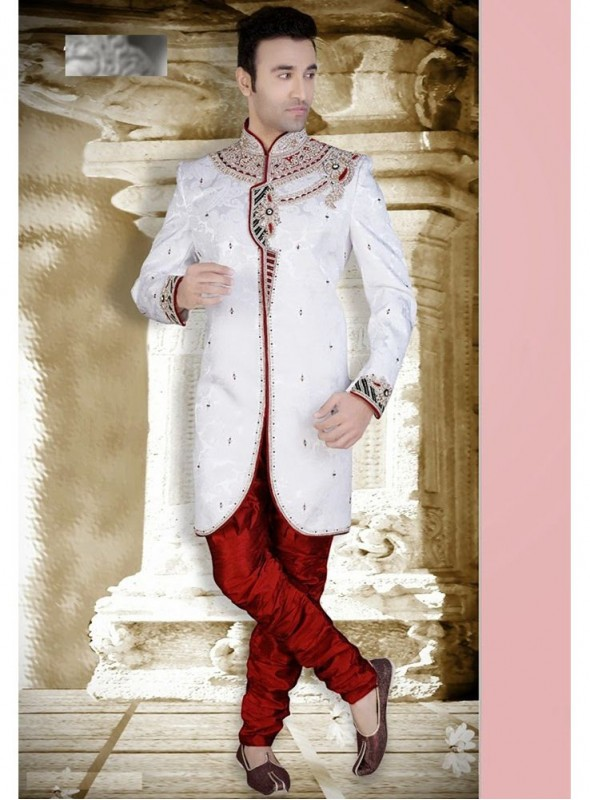 White Dupion Art Silk Readymade Sherwani Churidar