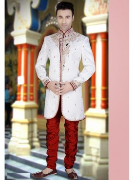 White Art silk Sherwani