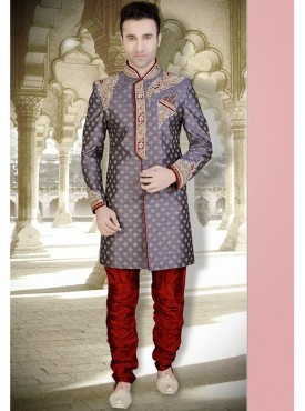 Grey Color brocade Readymade Sherwani Churidar